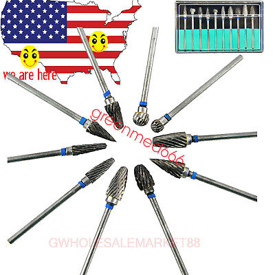 Tungsten Steel Dental Burs Lab Burrs Tooth Drill For Handpiece Polisher 10 Pcs