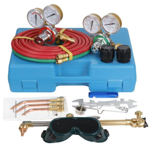 Gas Welding  Cutting Kit Acetylene Oxygen Torch Set Regulator w  Free 3 Nozzles Business & Industrial