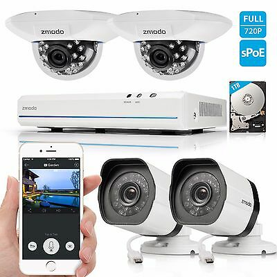 Zmodo 1080p 8CH HDMI NVR 1.0MP PoE Network IR-cut Home Security Camera System 1T