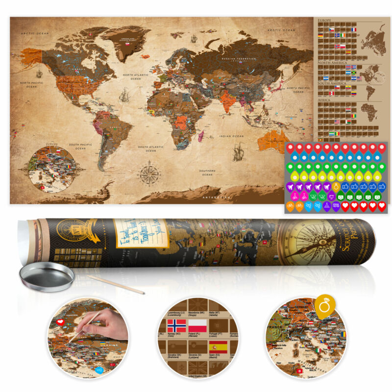 """Scratch Off World Map 39""""x17"""" Wall Poster Map for Scratching Travel k-A-0228-o-b"""
