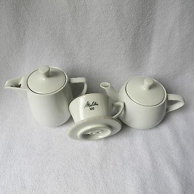 Melitta kleine Kaffeekanne Porzellan weiß Kanne +Filter 100 2Loch +Teekanne Set
