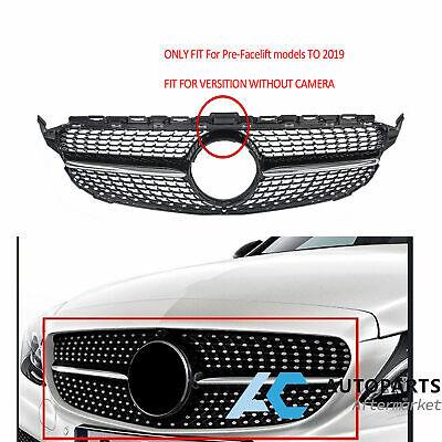 Black Diamond Front Bumper Grille For Benz C Class W205 C250 C300 C350 15-18
