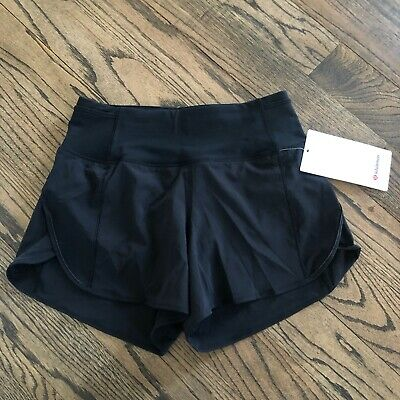 """Lululemon Real Quick Short *Perforated 3.5"""" BLACK High Rise Size 4 NWT $58"""