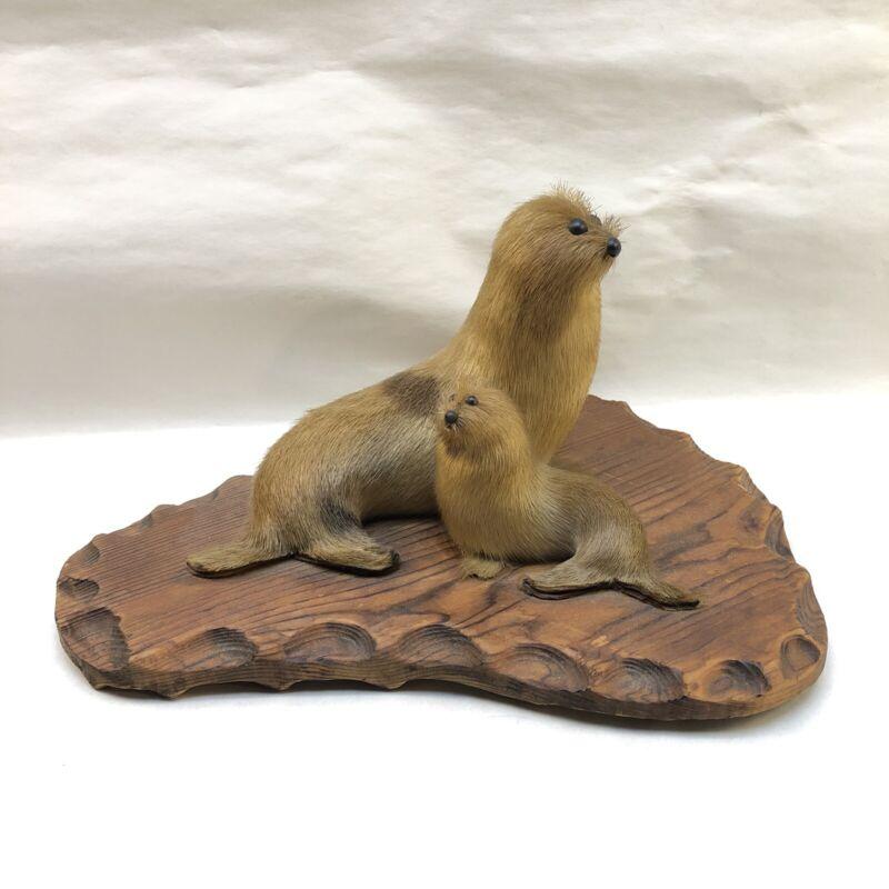 Vintage Real Seal Fur Seals Figurines Mounted On Wood