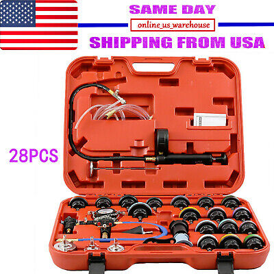 28pc Cooling System Radiator Pressure Tester Kit w/ Coolant Purge/Refill Adapter ()