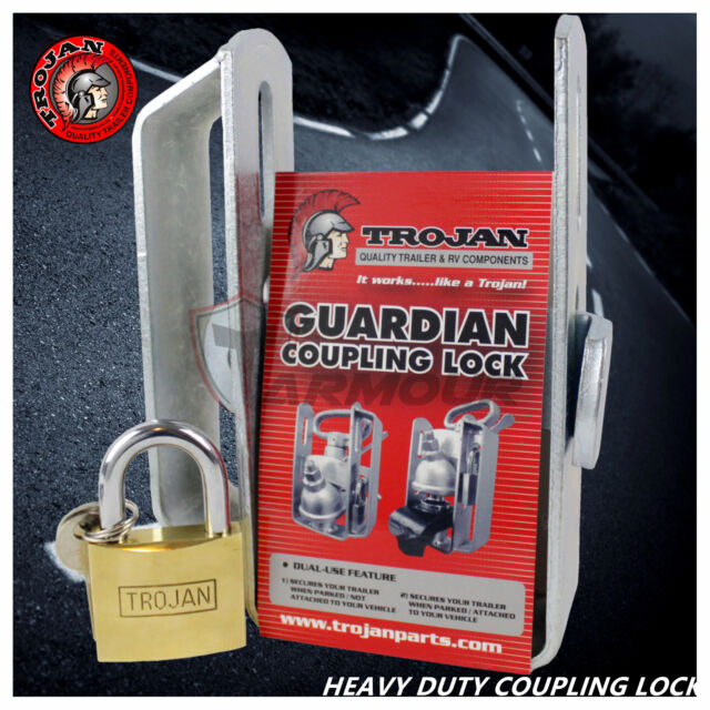 TRAILER TOW COUPLING LOCK 2 STAGE HITCH SECURITY WITH PADLOCK AND KEYS CARAVAN