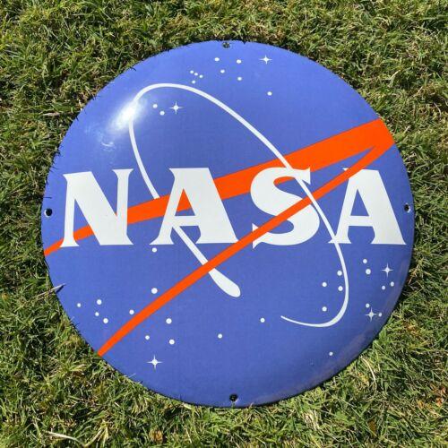 "VINTAGE 12"" NASA PORCELAIN METAL GAS & OIL SPACE AGENCY MOON SHUTTLE BUTTON SIGN"