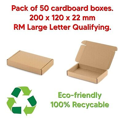 50 pcs of 200 x 120 x 22 mm Royal Mail Large Letter Postal Cardboard Box PIP