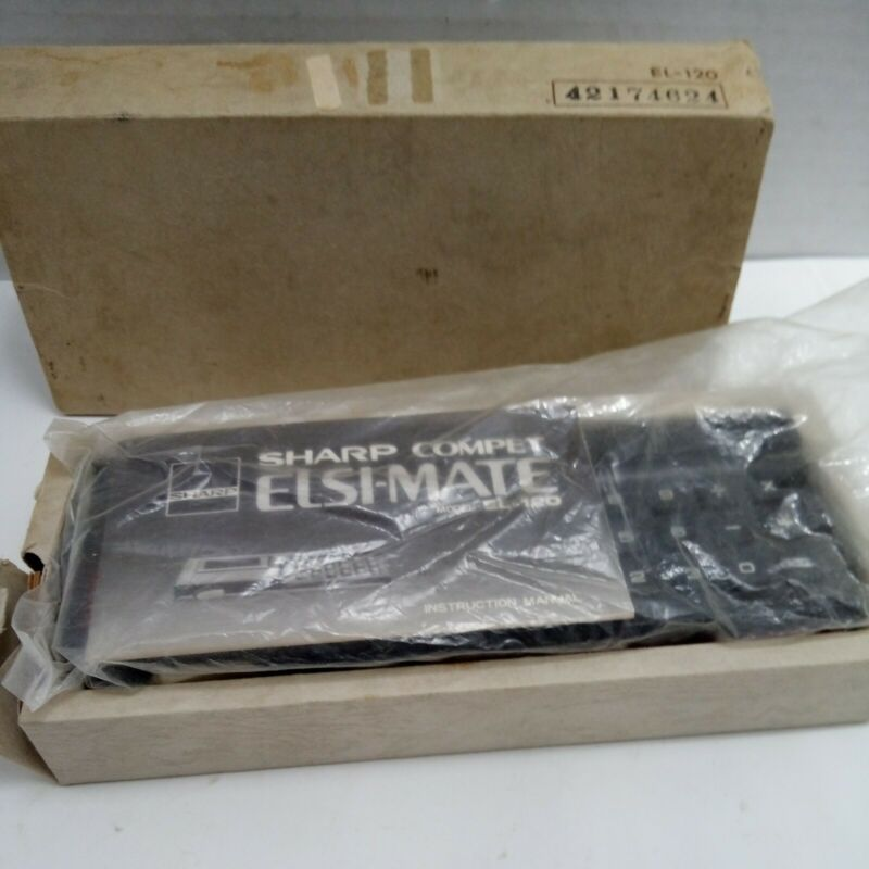 "Vtg SHARP Model ELSI-MATE EL-120 Electronic Calculator W/""Count Trigger & Box"
