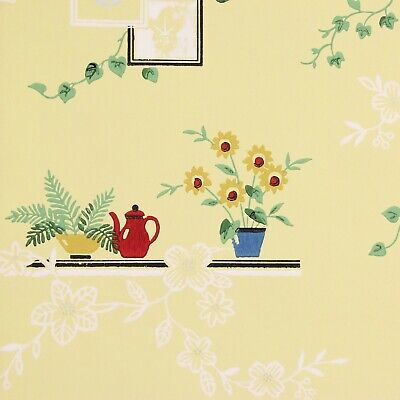 1940s Vintage Wallpaper Tulips Daisies on Yellow