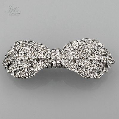 Rhodium Plated Bow Clear Rhinestone Crystal Alloy Barrette Hair Clip pin 03558