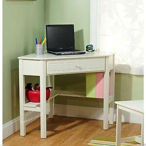 White Corner Computer Desk Dorm Teen Girl Kid Homework