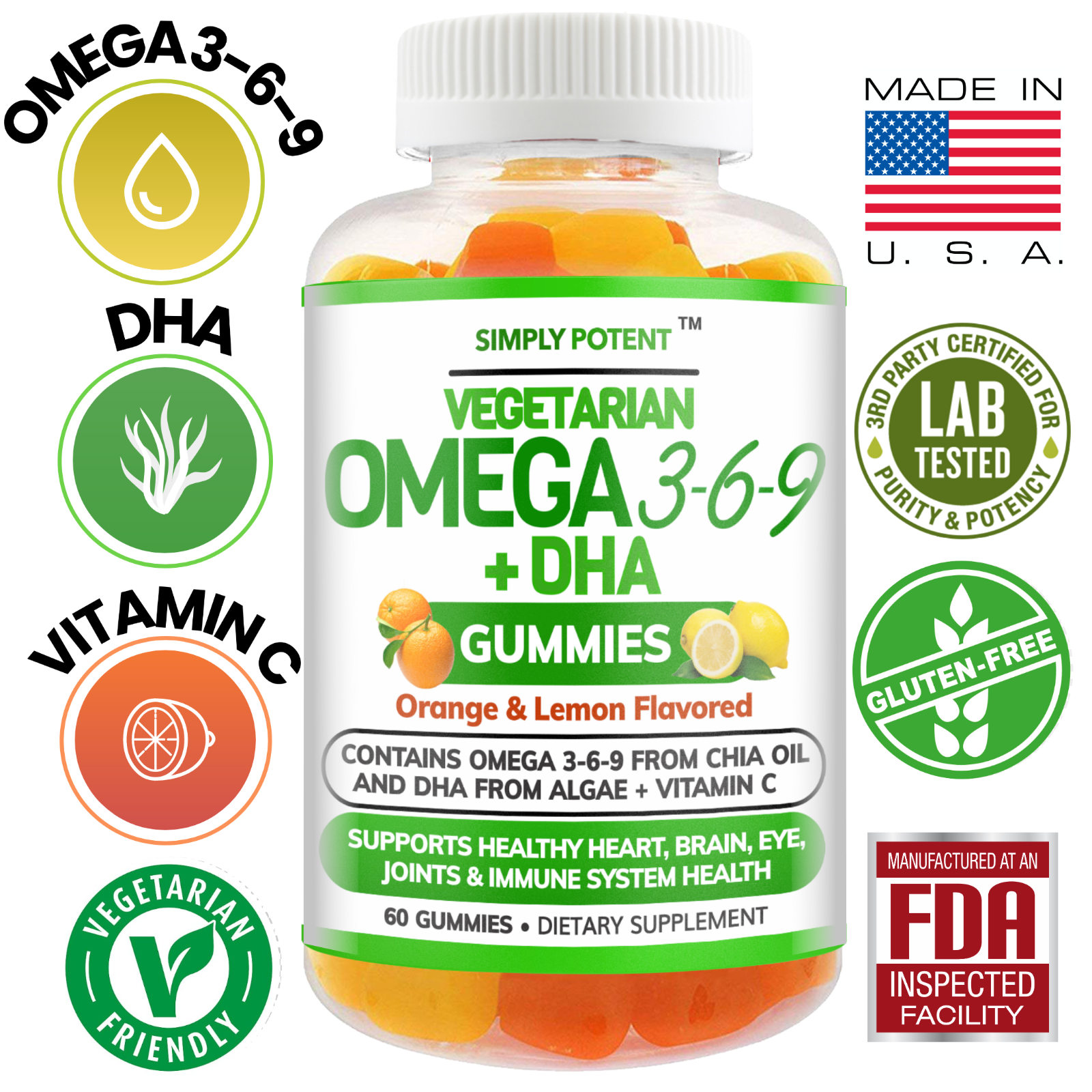 Omega 3 6 9 + DHA + Vitamin C Fish-Free Gummies for Brain, Heart, Joint Support