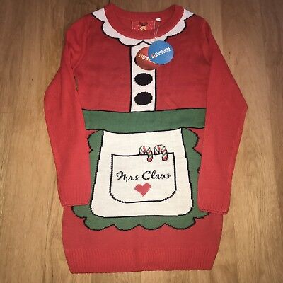 BNWT Christmas Workshop Red Knitted Mrs Claus Santa Jumper Dress Fits UK 12 14 ()