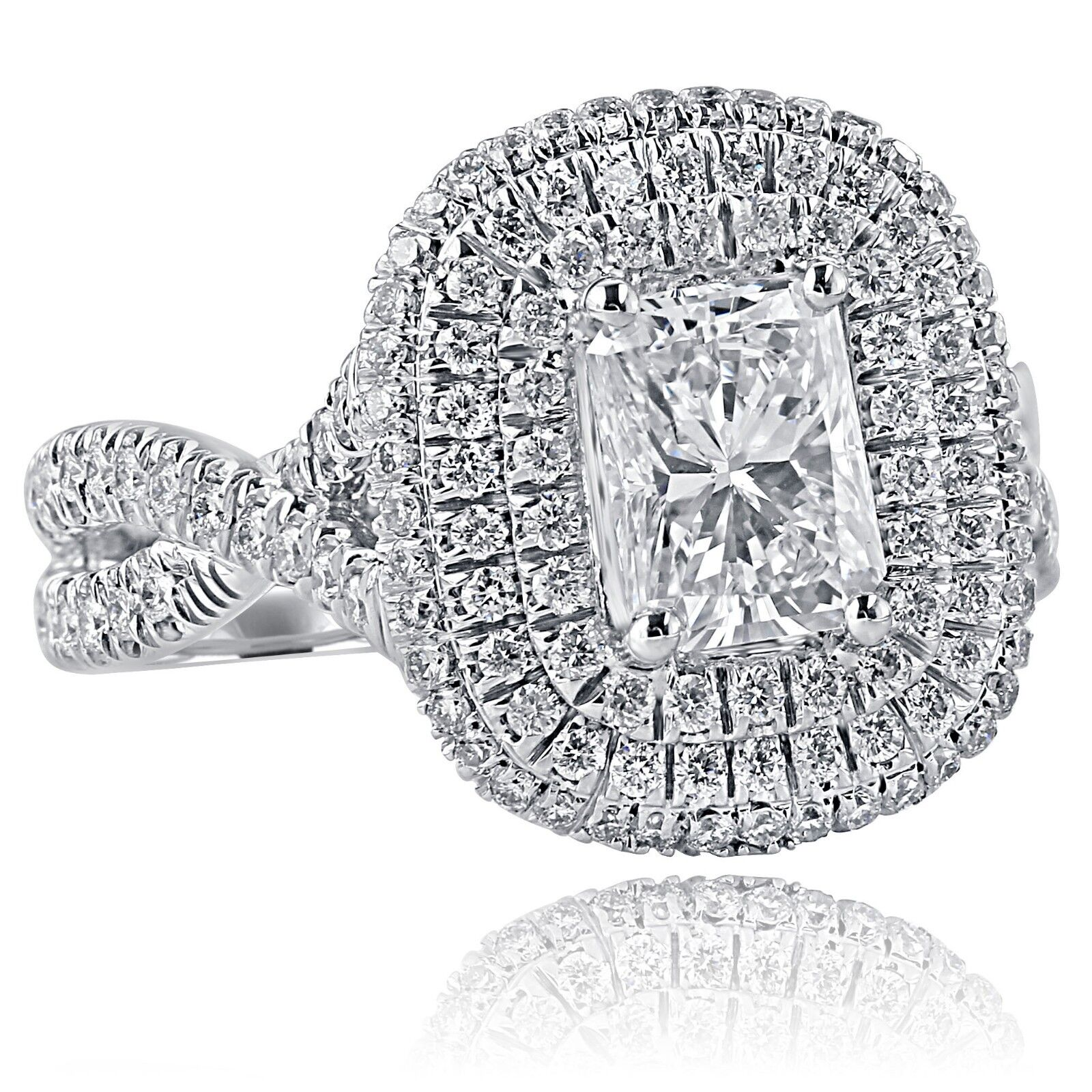 GIA Certified 2.18Ct F-SI1 Radiant Cut Diamond Engagement Infinity Ring 18k Gold