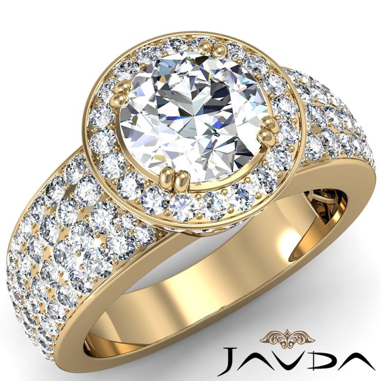 4 Row Halo Pave Round Diamond Engagement Ring GIA H VS1 18k Yellow Gold 3.03ct