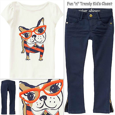 NWT Gymboree PREP PERFECT Girls Size 4 or 5 Skinny Jeans Tee Shirt Top 2-PC SET