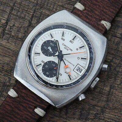 Vintage Croton Lemania Cal. 1340 Automatic Chronograph 1970's Steel Rare Runs
