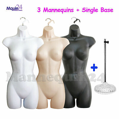 Flesh Black White Mannequins Female Torso Set 3 Hangers 1 Stand -dress Forms
