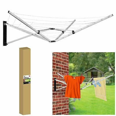 26m 5 Arm Wall Hang Mountable Clothes Airer Dryer Washing Line Bathroom Kitchen