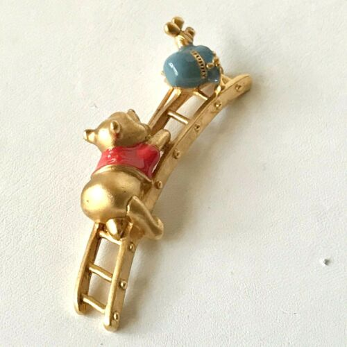 Vintage Disney Winnie The Pooh Pin Brooch Disneyana Honey Pot Ladder Gold Tone