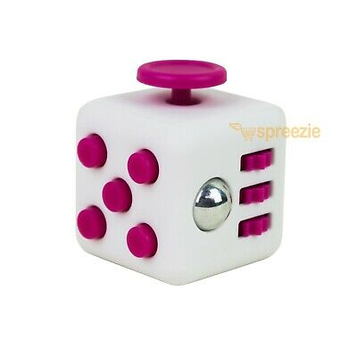 White Pink Fidget Block Toy Anxiety Stress Relief Focus Attention Cube Square
