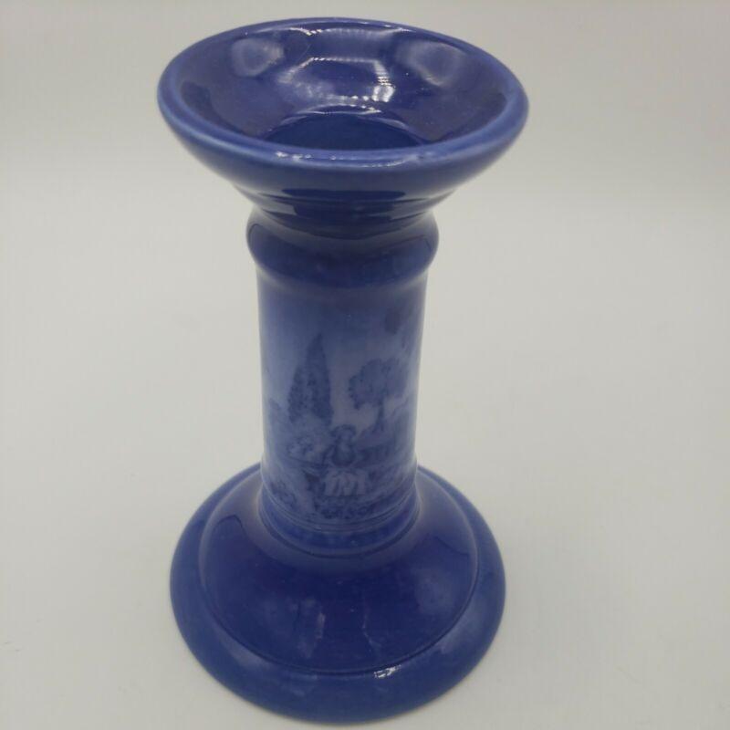 Antique Flo Blue Flow Blue Candlestick Candle Holder England Transferware Cobalt
