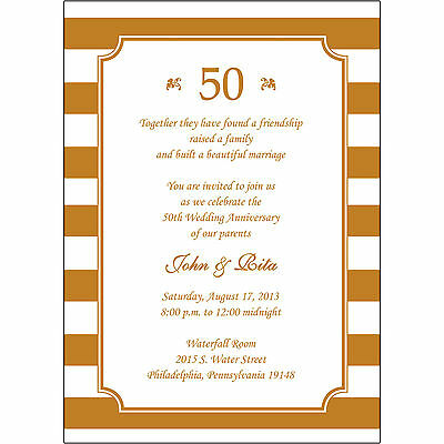 25 Personalized 50th Wedding Anniversary Invitations  - AP019 - Gold Stripes Golden Wedding Anniversary Invitations