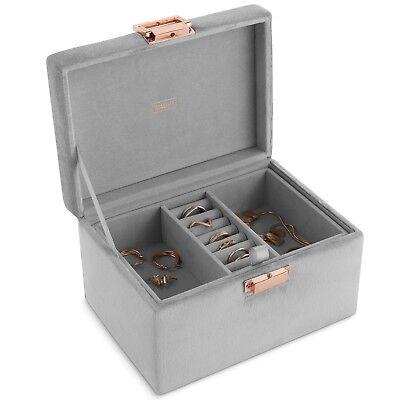 - Beautify Gray Velvet Jewelry Box Storage Organizer with Removable Tray