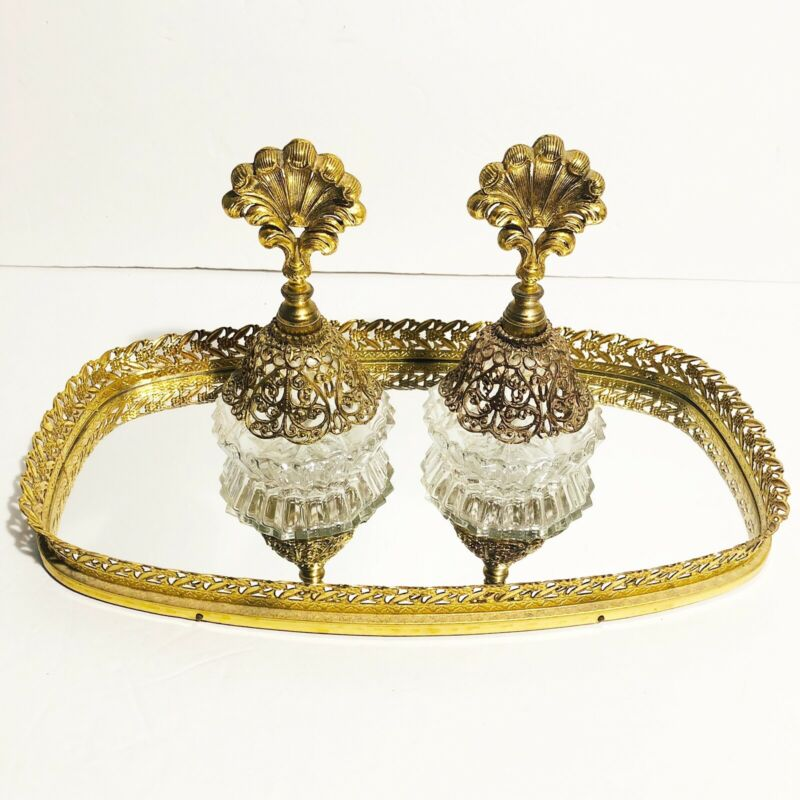 Vintage Stylebuilt Ormolu Perfume Bottles Vanity Tray Set Gold Filigree