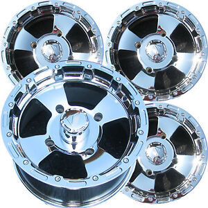 4-12-12x7-12x8-4-156-CHROME-ATV-RIMS-WHEELS-Polaris-Sportsman-Ranger-RZR-more