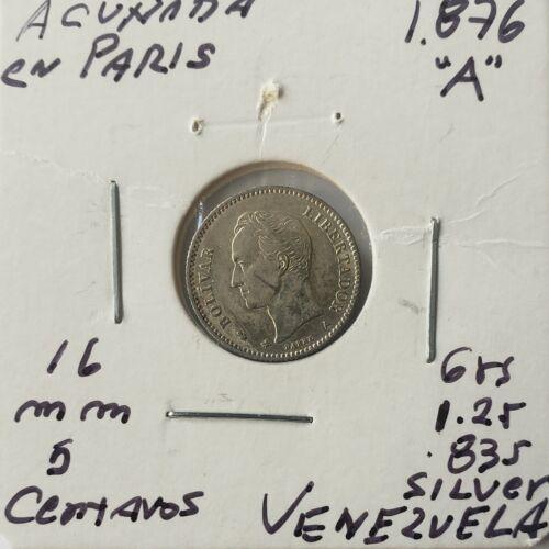 1876 Venezuela 5 Centavos Gram 1,250 Silver Coins