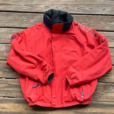 Vintage Style Nautica Challenge J-Class Sailing Jacket Mens Size L Red Hooded