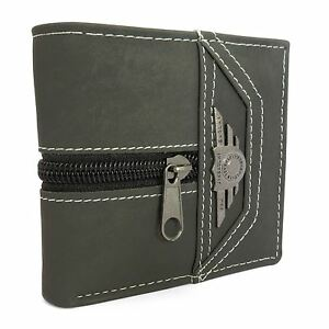 Mens Genuine Leather Wallet Luxury Quality ID Credit Card Holder Purse Grey UK