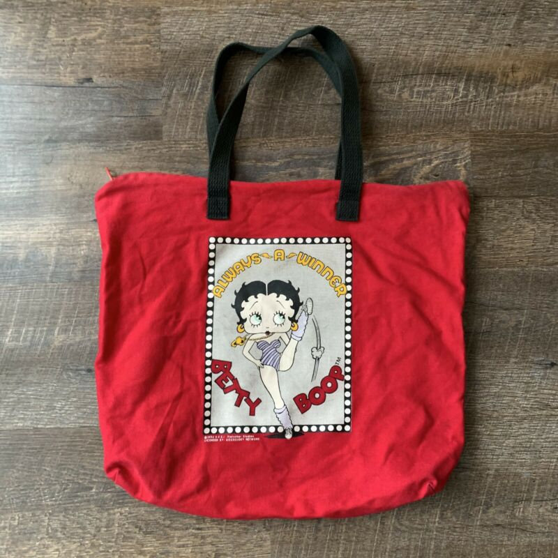 Vintage Betty Boop Shoulder Bag Red Fabric Tote 1994 Always a Winner 90's RARE