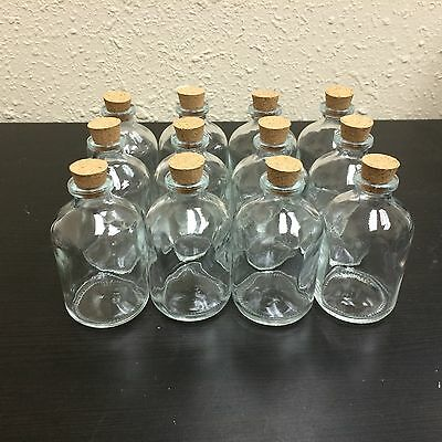 Wholesale Lot 12 Glass Bottles W/ Corks 50ml Clear Glass Vials