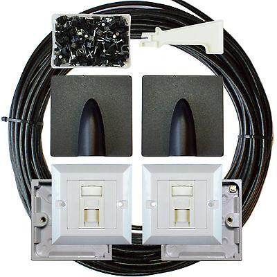 25M CAT6 Extension Outdoor/External Cable Kit - RJ45 Network Ethernet Face Plate