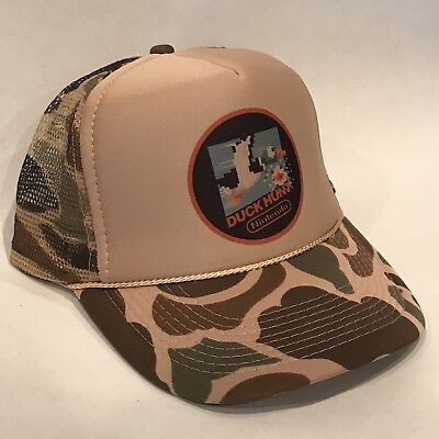 Camouflage Hunting Hat (Duck Hunt Vintage Camo Nintendo Video Game Hunting Trucker Hat Brown Camouflage )