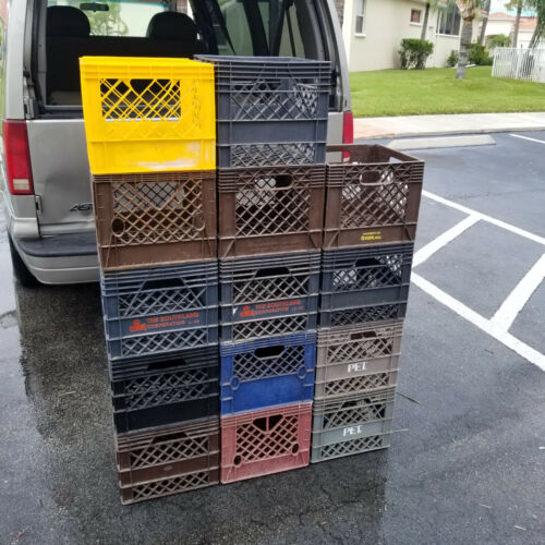 Plastic stackable storage carrier milk crate various colors, see pictures