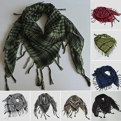 (Women Men Military Shemagh Arab Tactical Plaid Checked KeffIyeh Neck Scarf Wrap)