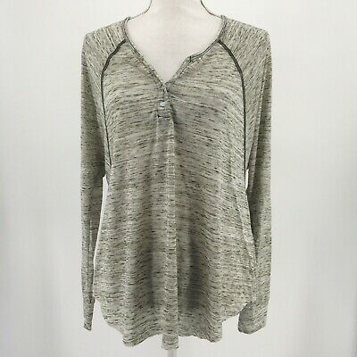 T La. Anthropologie Top Long Dolman Sleeve Henley Heathered Green Size Small