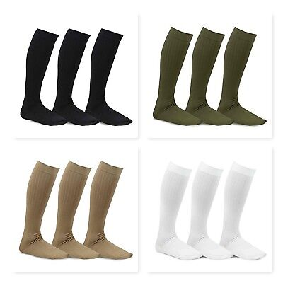 TeeHee Viscose from Bamboo Compression Knee High Socks w/ Rib 3-Pack Solids ()