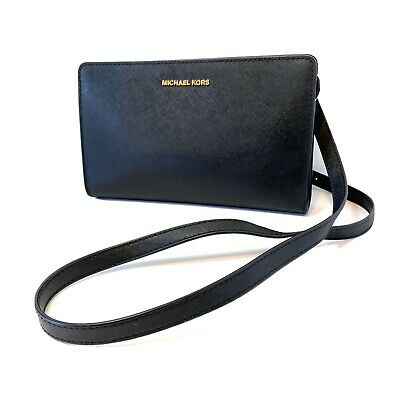 Michael Kors Large Crossbody Clutch Leather Bag Black