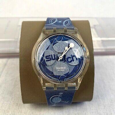 Swatch Men's Wrist Watch Quartz Blue Silicone Strap Analogue Swiss Made SUPK101