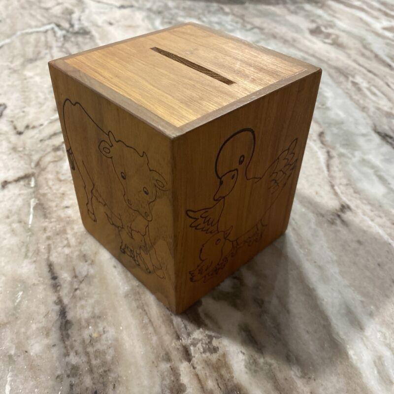 Toystalgia Wood Bank Music Box 1979 vintage carved Golden Valley MN