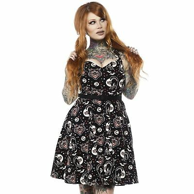 Women's Black Cats Bats Halloween Retro Pin-Up Vintage Style Costume Dress S-3XL (3 Black Cats Halloween)