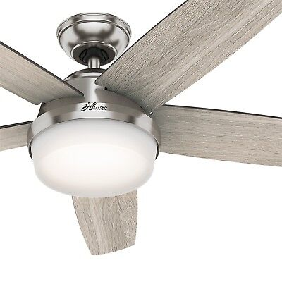 Hunter 54 inch Brushed Nickel Contemporary Ceiling Fan w/ LED Light & Remote Contemporary Ceiling Lighting