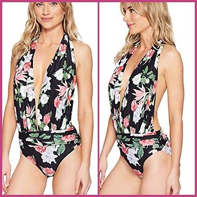 NWT Vince Camuto Tropical Floral Plunge Halter Open Back One Piece Swimsuit 14