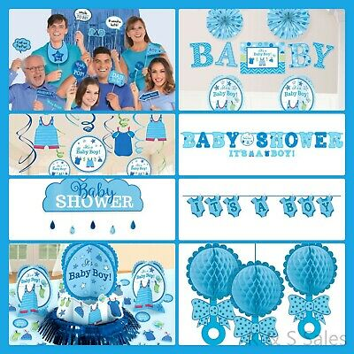 BABY SHOWER Decorations Blue Boy Party Supplies Banner Backdrop Room Wall - Boy Baby Shower Kits