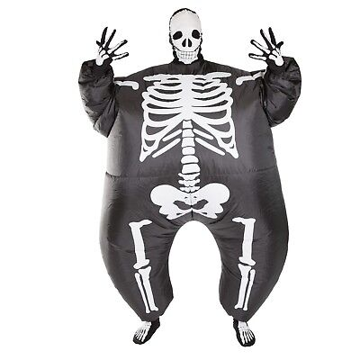 Adult Scary Inflatable Black Skeleton Costume Outfit Suit Halloween One Size - Skeleton Suit Halloween Costume
